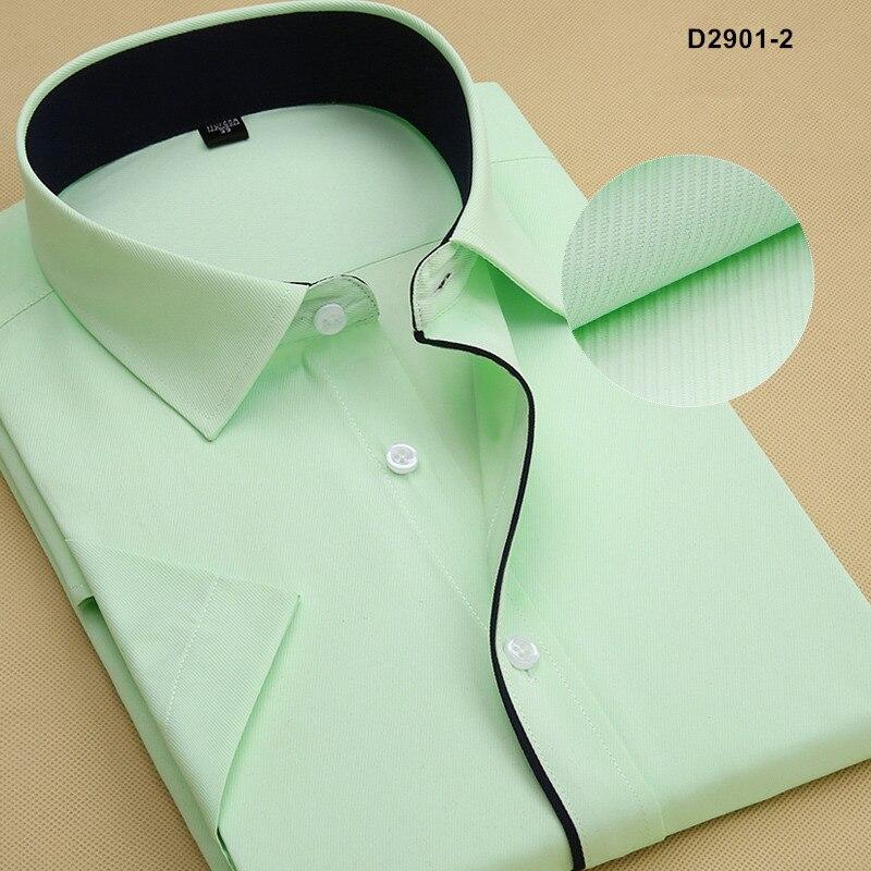Летняя Стильная мужская брендовая одежда с отложным воротником, рубашки с коротким рукавом, мужские рубашки, приталенная Однотонная рубашка для мужчин - Цвет: D29012