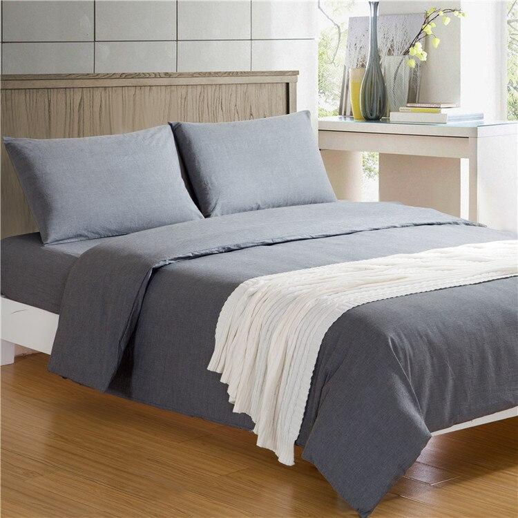 ▻Breve sólido Ropa de cama set algodón lavado 4 unids/3 unids ...