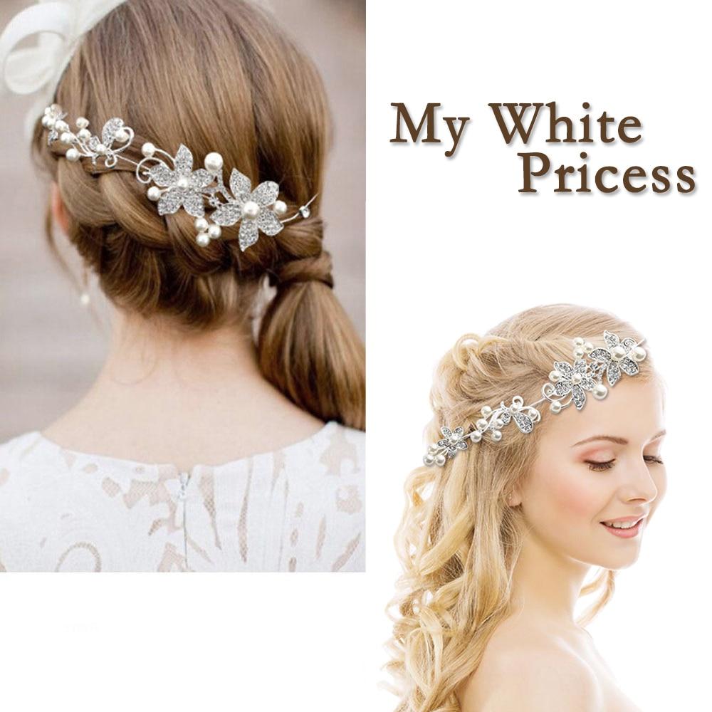 wedding hair accessories clips romantic crystal pearl flower hairpin tiara bridal crown hair pins bride hair jewelry s6339