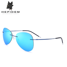 HEPIDEM 2017 Polarized Sunglasses Aviation Titanium Alloy Rimless Sunlgass Women Aviador Ultralight Sun Glasses for Men 20008