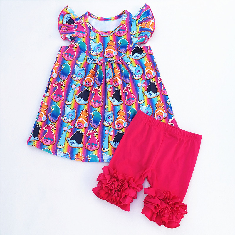 96bb8e235457 Troll Summer Baby Girls Milk Silk Clothing Kids Boutique Clothes Ruffles  Short Sets Children Summer Boutique