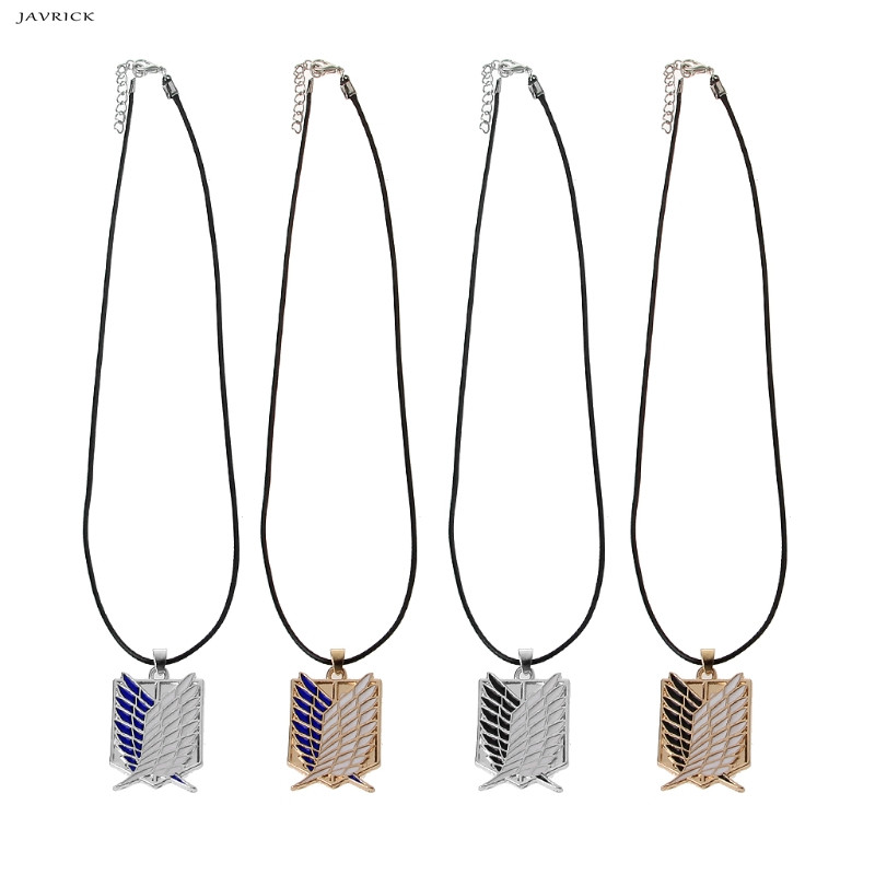 JAVRICK Anime Peripheral Pendant Necklace Attack on Titan Scout Regiment Necklace Survey Corps Erwin Smith Accessories Jewelry