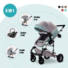 3 in 1 Baby Stroller Bassinet Car Safety Seat Foldable Carriage Pushchair Lying Sleeping Basket Highview Pram 0-4 year 4 Season