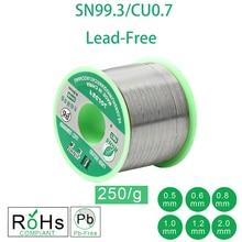 250 г бессвинцовый припой провод 0,5-2,0 мм неэтилированный бессвинцовый канифоль ядро для электрического припоя RoHs