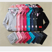 High quality spring  autumn 2017 PINK Women's Brand Velvet fabric Tracksuits Velour suit women Track suit Hoodies and Pants S-XL