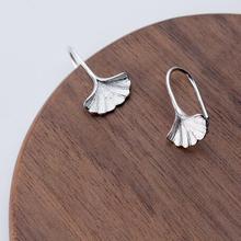 Cute 100% Real. 925 Sterling Silver Fine Jewelry gingko Leaf dangle earrings gtle1872