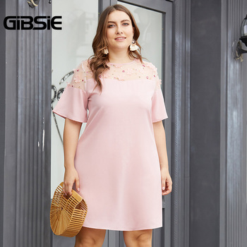 GIBSIE Plus Size Flower Patch Mesh 0-neck Short Sleeve Women Dress Pink Elegant Office Lady Summer Casual Slim A Line Mini Dress