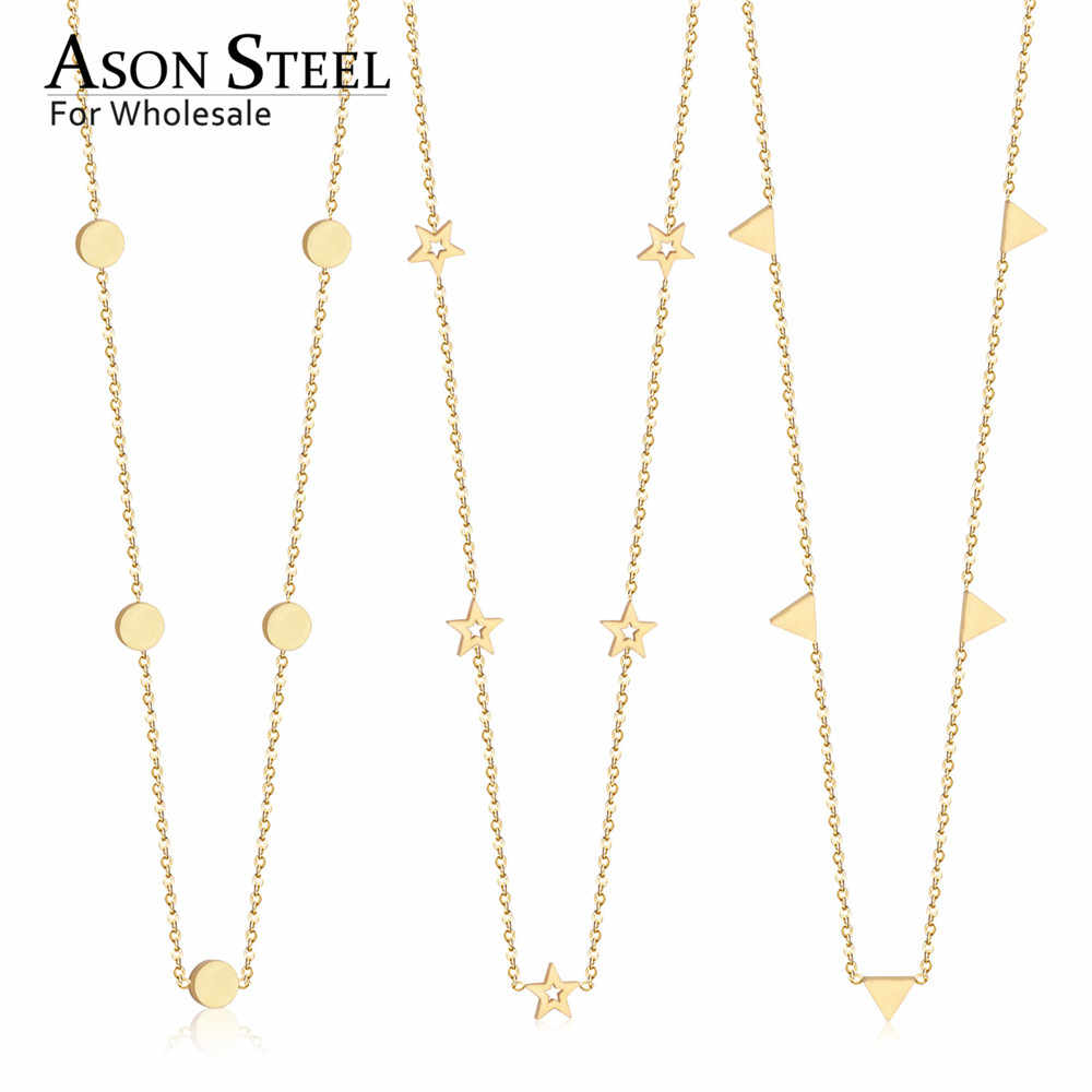 ASONSTEEL New Collars Choker Necklace Gold Color Round Triangle Star Pendant Necklace Stainless Steel Chain Necklace Female Gift