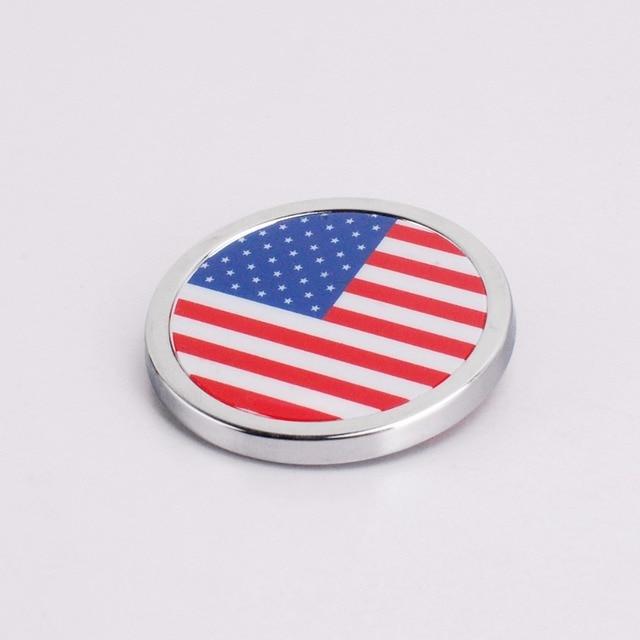 Car Exterior Accessories America Flag Sticker Metal Round Emblem For Cadillac Dacia Honda City Toyota Land