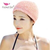 포켓 소녀 솔리드 여성 수영 모자 긴 셔링
