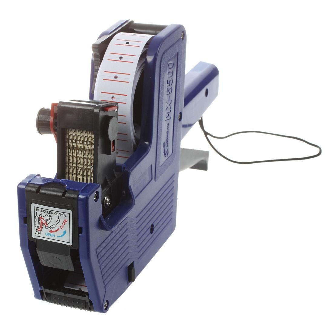 Pistola de etiqueta de precio EOS de 8 dígitos 500 blanca con etiquetas de líneas rojas 1 tinta máquina de precios Manual Bidder Color aleatorio azul
