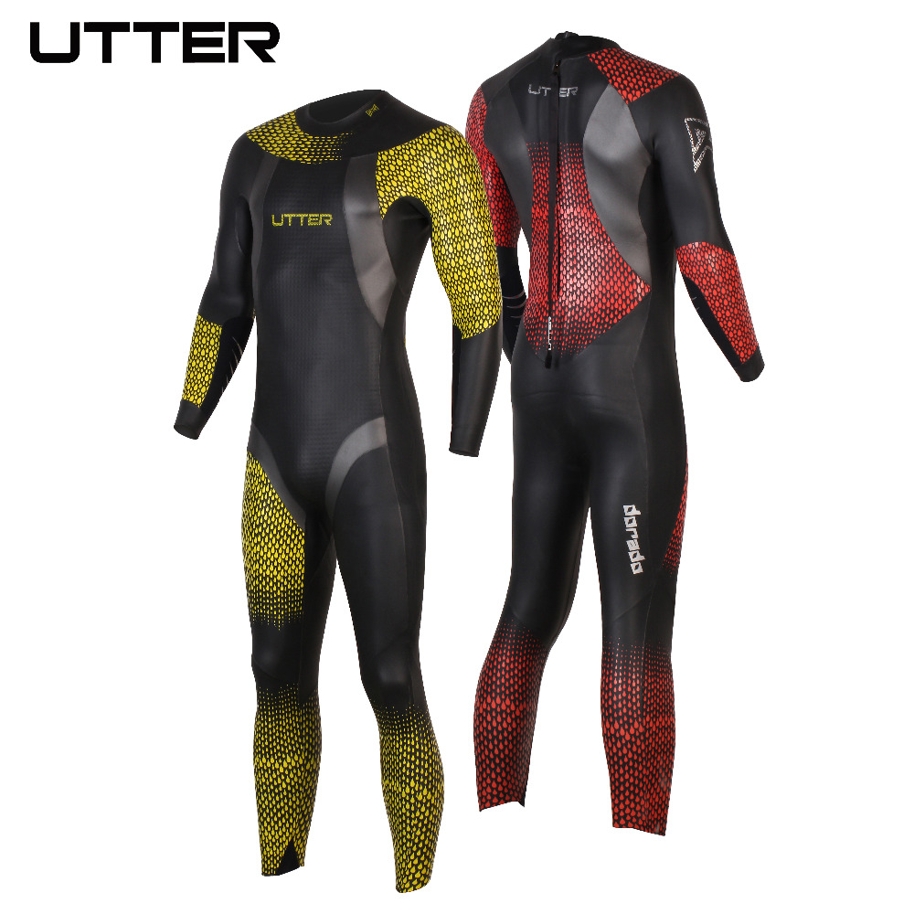 UTTER Dorado Men Printing Red Spots Smoothskin Neoprene Triathlon Wetsuit Swimwear for Swimming Cycling and Running Sportwear недорого