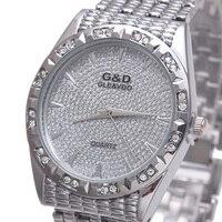 G D Top Brand Luxury Women Bracelet Watches Quartz Wristwatch Golden Steel Relojes Mujer Lady Dress