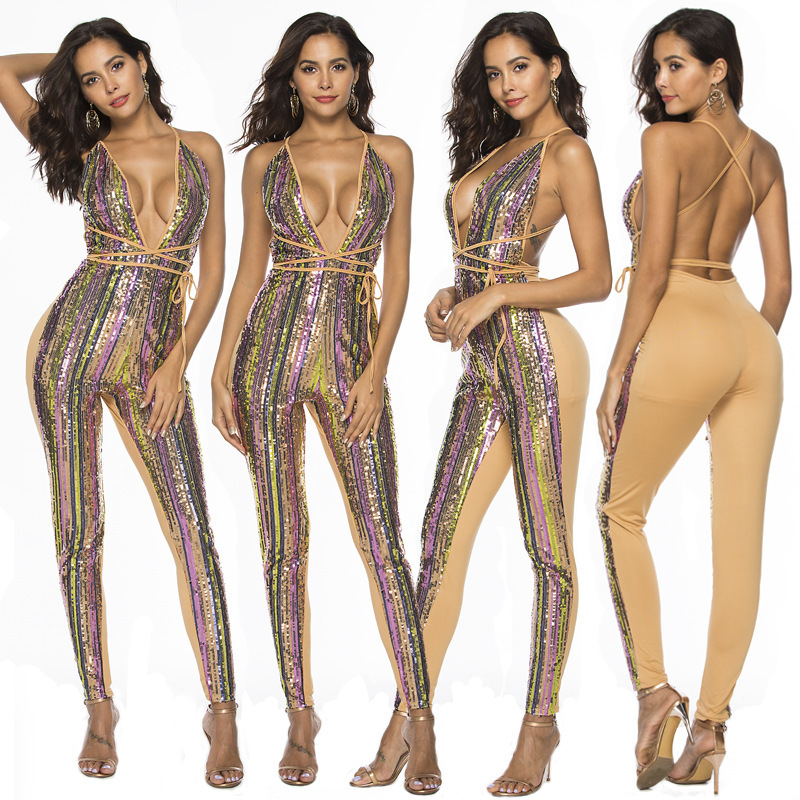 European And American Women S Wear Color Striped Sexy Pants Casual Women Jumpsuit