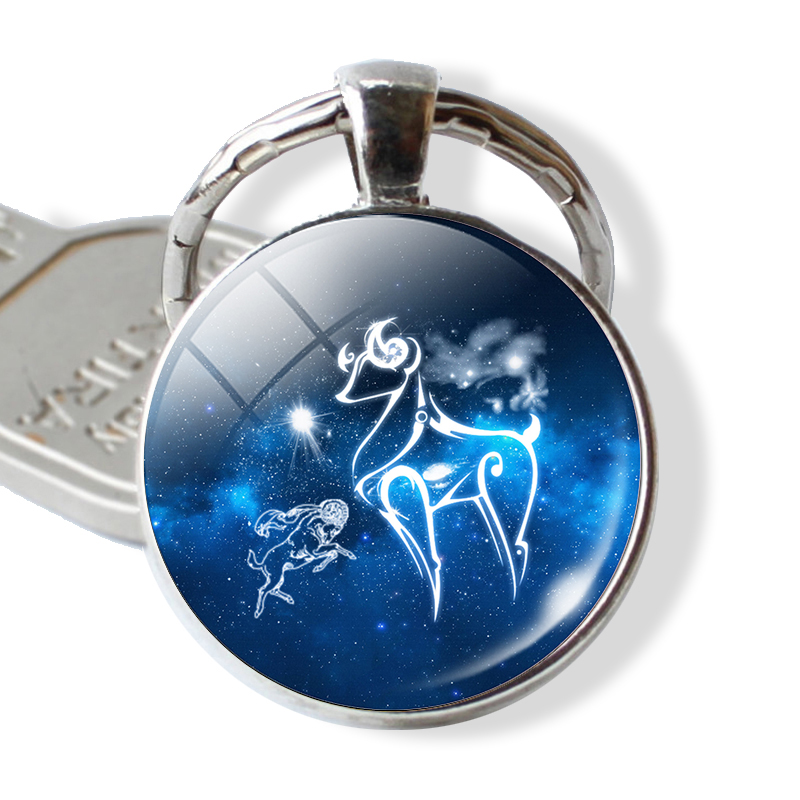 Birthday Gift Cute Cabochon Zodiac Signs Keyrings Aries Leo Constellations Keychains Virgo Pisces Key Chains Rings Pendant Women
