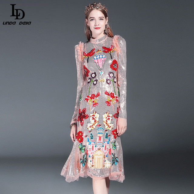 LD LINDA DELLA Runway Designer Dress Women's High Quality Long Sleeve Flower Luxury Sequined Beading Mermaid Party Dress