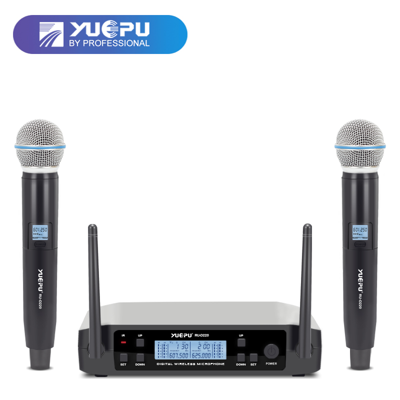 YUEPU RU-D220 UHF Handheld Karaoke Microphone Wireless Professional System 2 Channel Frequency Adjustable Cordless For Church professional karaoke wireless microphone system 2 channel receiver cordless handheld microphones for dj mixer audio stage church
