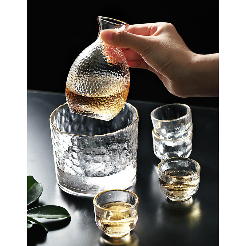 Glass Wine Cup Japanese Lead-free Glass Crystal Cup Shot Glass Cup High Spirits White Wine Glasses Sake Pot Suit image