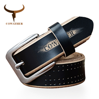 COWATHER New Fashion Style Cow Genuine Leather Belts For Men Luxury Pin Buckle High Quality Black