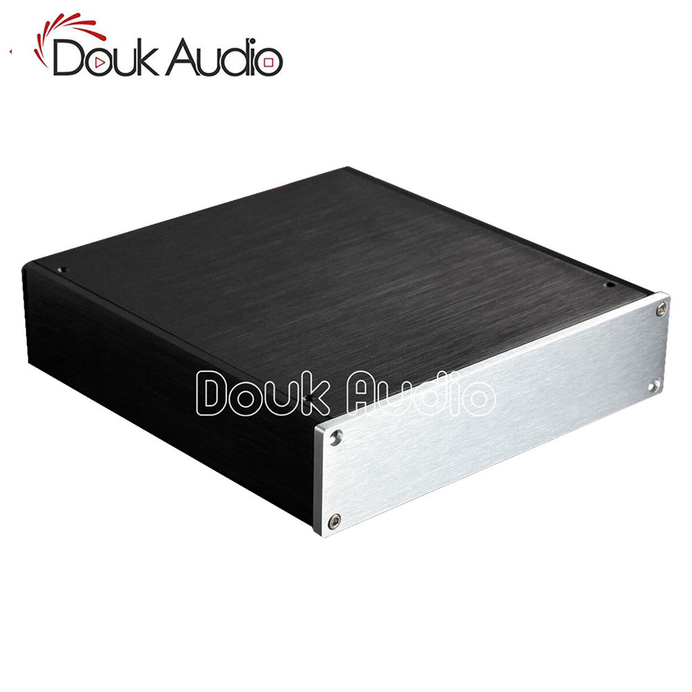 Douk Audio Small Aluminum Chassis Universal Amplifier Enclosure DIY Case DAC Box douk audio front panel radiating aluminum chassis power amplifie cabinet diy case black box