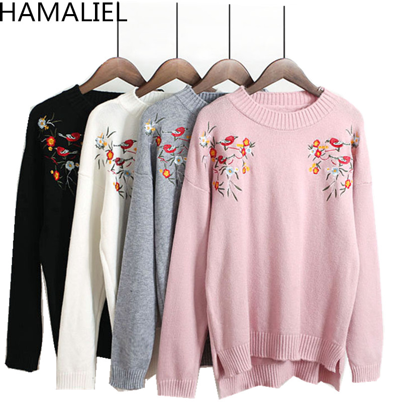 HAMALIEL Women knitted Sweater 2018 Autumn Winter Designer Floral Emeroidery Long Sleeve Jumpers Casual O Neck Female Pullover