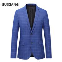 2018 spring blazer men's business casual grid suits men single breasted coat fashion classic jacket blazers men suits size L 7XL
