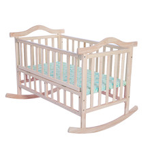Infant Bed solid wood baby cradle rocking crib with colorful bed sets(China)