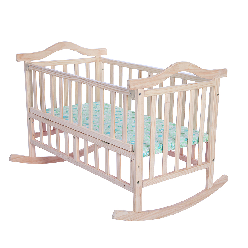 Infant Bed Solid Wood Baby Cradle Rocking Crib With Colorful Bed Sets