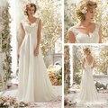 New Elegant A Line Sleeveless Tank Lace Chiffon V Neck Wedding Dress In Stock