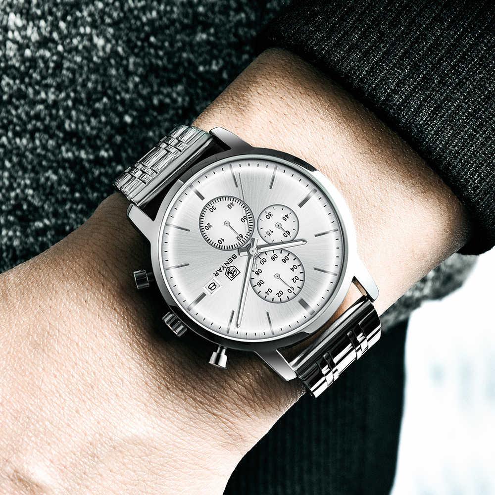 BENYAR גברים של שעונים מקרית אופנה עמיד למים שעון גברים למעלה מותג 2019 חדש יוקרה קוורץ הכרונוגרף שעוני יד zegarek meski
