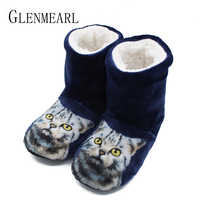 Women Slippers Indoor Shoes Winter Home Slippers Couples Flannel Cute Cat Warm Flat Shoes Woman Cozy Female Sliders Plus Size 25