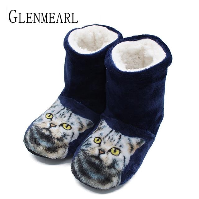 Women Slippers Indoor Shoes Winter Home Slippers Couples Flannel Cute Cat  Warm Flat Shoes Woman Cozy Female Sliders Plus Size DE 952ce0d90