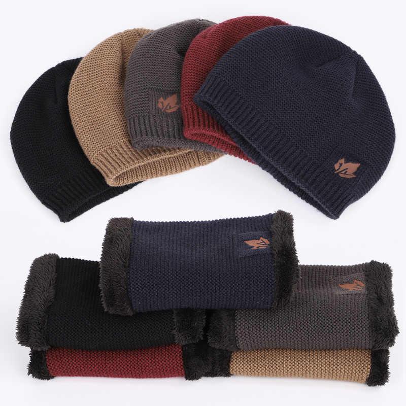9e2f8c9425b ... 2018 New Fashion Maple Leaf LOGO Knit Beanie Hat Solid Color Winter Man  Woman Plus Velvet