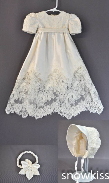 Sheer Lace White/Ivory Baby Infant Boys Girls Formal Christening Gown Baptism Robe Dress With Bonnet