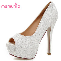 MEMUNIA Sexy Super High Glitter Peep Toe Women Pumps New Arrive Ladies Prom Shoes Elegant Spring