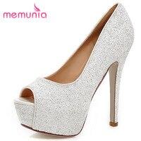 MEMUNIA Sexy Super High Glitter Peep Toe Women Pumps New Arrive Ladies Prom Shoes Elegant Spring