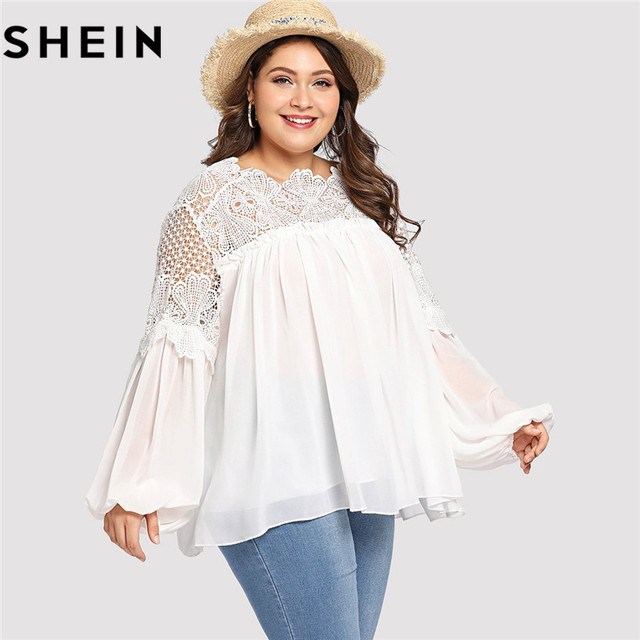 SHEIN White Lace Patchwork Lantern Long Sleeve Casual Plus Size Women  Blouse Summer Office Lady Elegant Solid Top Clothing New 13381484f6a8