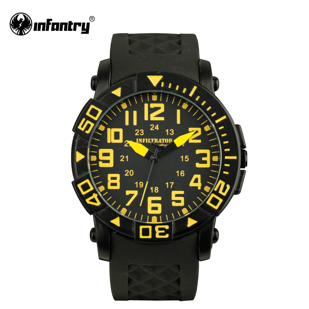 INFANTRY US Military Yellow Dial Hour Quartz Men's Boy Sport Analog - Men's Watches