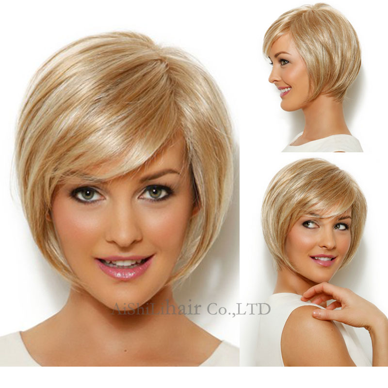 Premium Blonde Wigs For Women Fashion Short Wavy Curly Ombre Shot Bob wigs with bang Peruca Cosplay synthetic hair