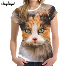 NoisyDesigns 3D Gatto di Stampa T shirt Donne di Estate Fresco Casual t-shirt Kawaii Stile Harajuku tshirt Angry Cat Femminile 2019 t camicia(China)