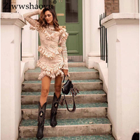 Ziwwshaoyu Sexy Embroidery cotton Pencil dress Ruffled Mesh Sleeve See Through Elegant Dresses 2019 spring and summer new women
