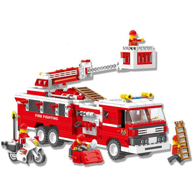 567pcs Brand Compatible City Fire Series Fighting Truck Building Blocks DIY Assembly Emergency Firefighters Particles Bricks Toy