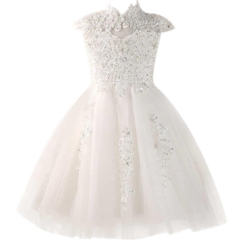 פרח בנות שמלות תחרות מפלגה לנשף כדור שמלות ילדה נסיכת נישואי חרוז שמלת תינוק למבוגרים מסיבת יום הולדת שמלה