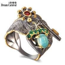 DreamCarnival 1989 Make U Different Beautiful Moving Charms Blue Opal Wedding Anniversary Women Rings Thin Leaf Look WA11671