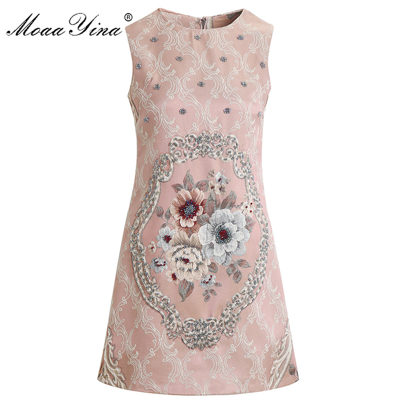 MoaaYina Summer Fashion Short Dress Women s Sleeveless Vintage Flower Print Jacquard Beading Pink Party Elegant