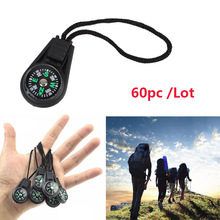 60pcs Key Chain Mini Compass Outdoor Camping Hiking Finding Way Hiker Navigator Utility Gear Survival Keychain Compass Tool