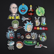Rick and Morty Patches for Clothes Jeans  Iron On ONE PUNCH-MAN Anime Appliques 3D Diy Embroidery Fun Science Badges Decor
