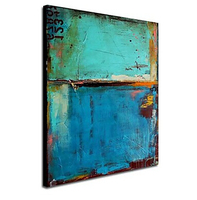 One Oil Painting Vintage Abstract Canvas Art Blue Color Painting with Numbers Hand-painted Canvas Wall Pictures for Living Rooms