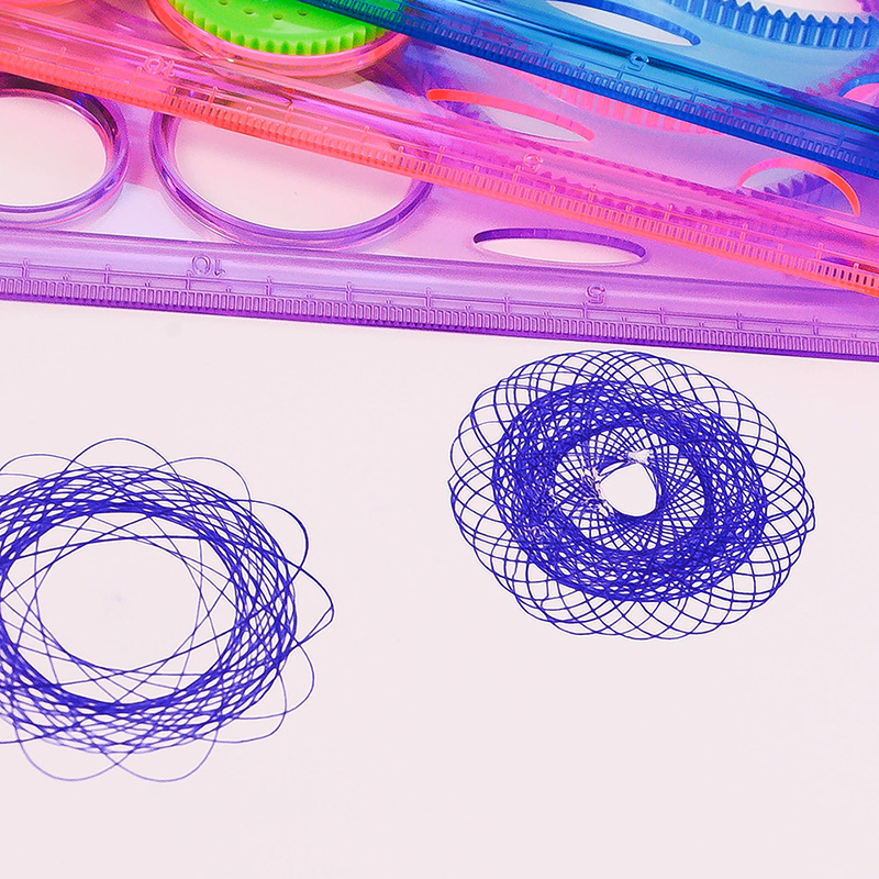 Painting-Multi-function-Interesting-Puzzle-Spirograph-Children-Drawing-Plastic-Ruler-Random-Color-Z17-5