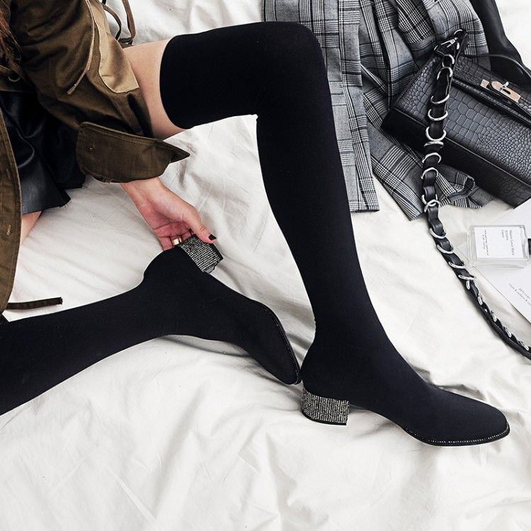 MLJUESE 2019 women over the knee boots stretch fabric high heels autumn spring high boots socks boots party dress size 34 43